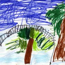 Mia's drawing of Gadebridge Park, including the Cranstone bridge.